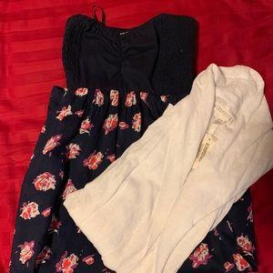 Volcom strapless dress w/free new white cardigan